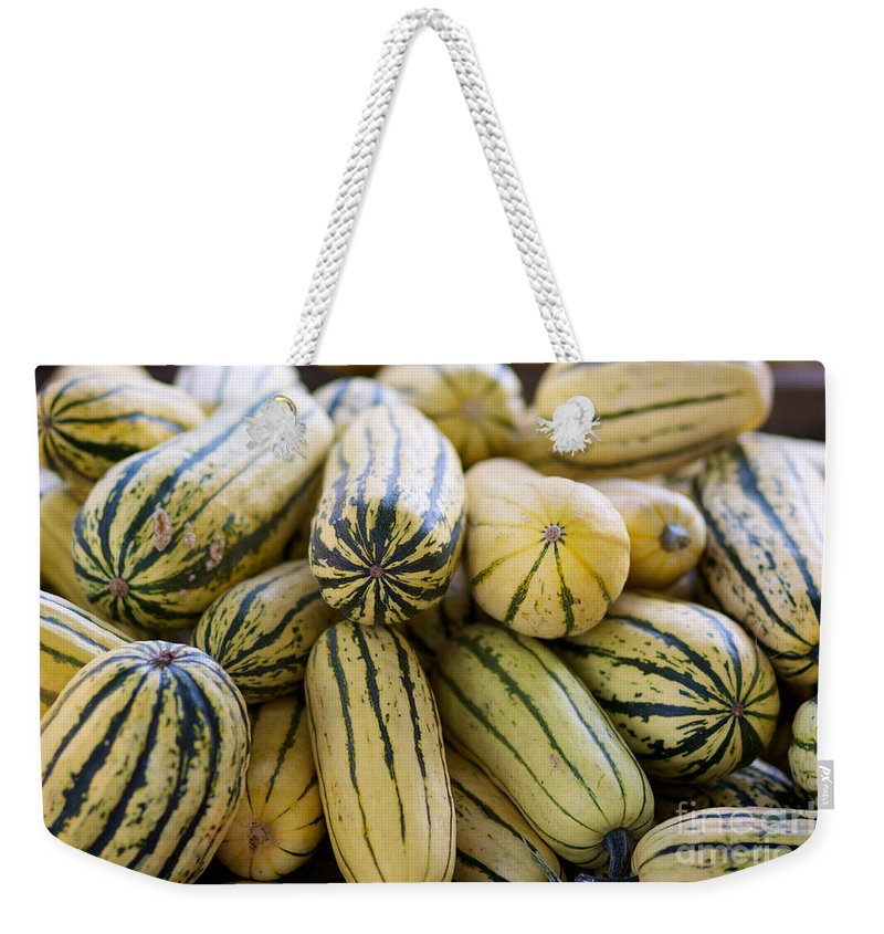 Delicata Weekender Tote Bag featuring the photograph Delicata Winter Squash by Brooke Roby
