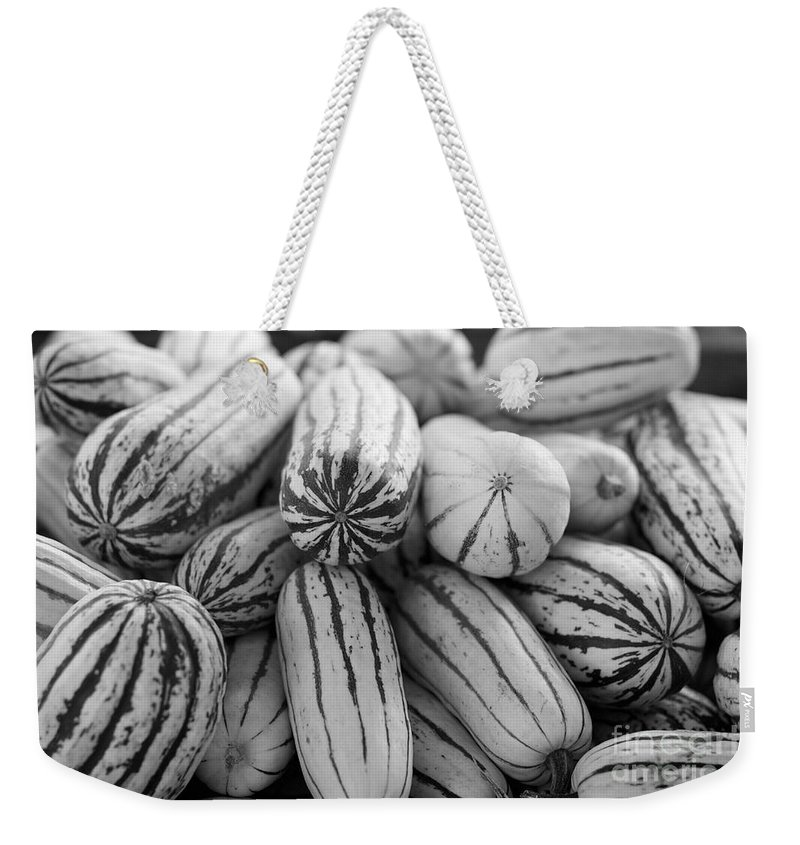 Delicata Weekender Tote Bag featuring the photograph Delicata Winter Squash In Black by Brooke Roby
