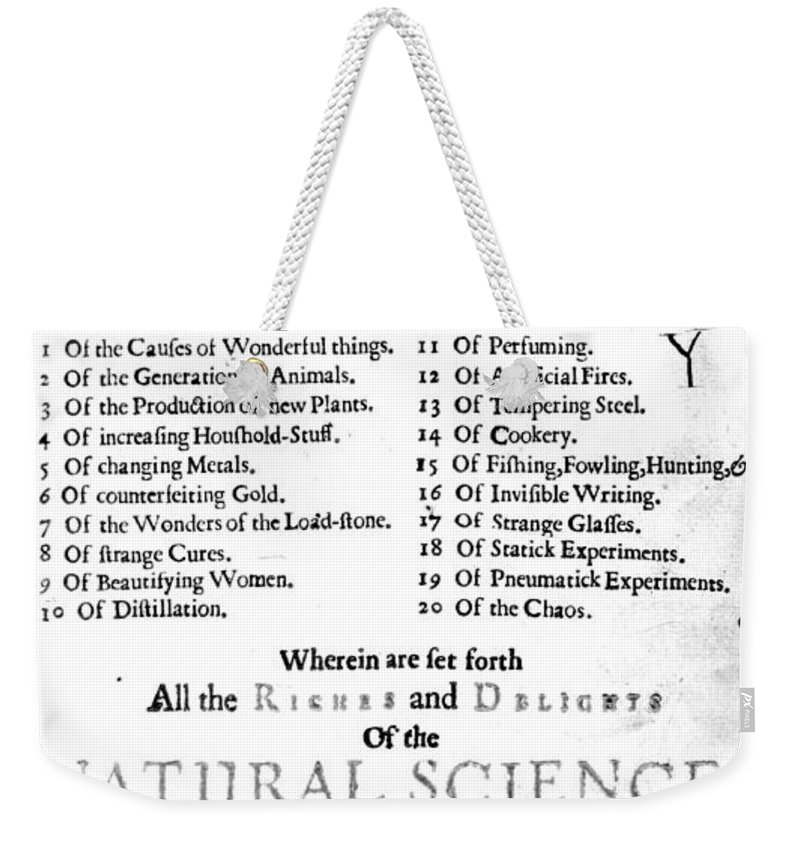 Science Weekender Tote Bag featuring the photograph Della Portas Natural Magick, 1658 by Science Source
