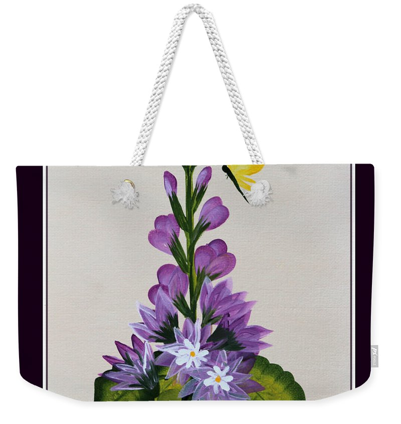 Delphenium Weekender Tote Bag featuring the painting Delphenium And Butterfly by Barbara Griffin