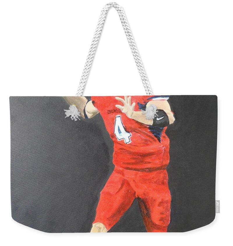 Derek Carr Weekender Tote Bag featuring the painting Derek Carr by Travis Day