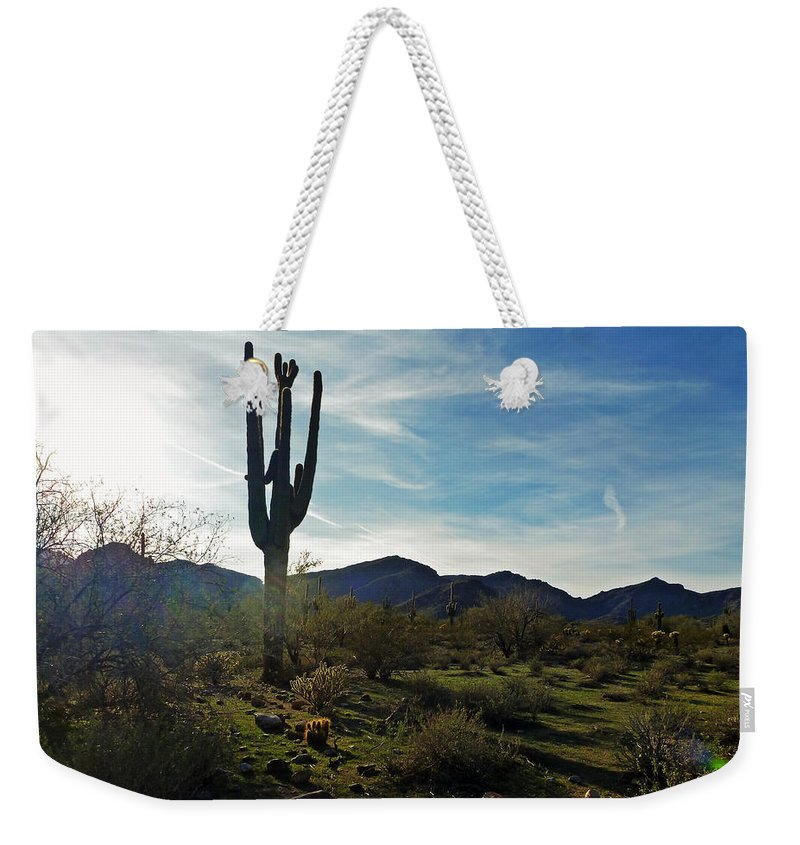 White Tank Sunset Weekender Tote Bag featuring the digital art Desert Afternoon by Methune Hively