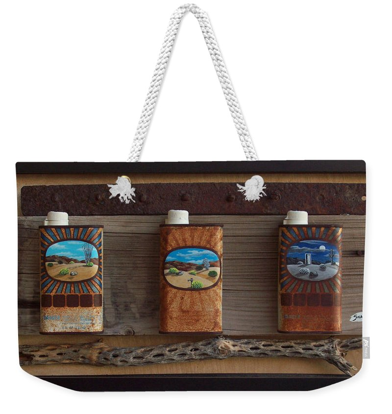 Sculpture Weekender Tote Bag featuring the painting Desert Tryptich by Snake Jagger