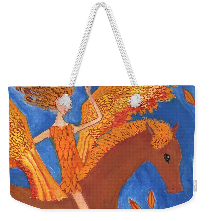 Autumn Weekender Tote Bag featuring the painting Detail Of Wild Winds Of Autumn by Sushila Burgess