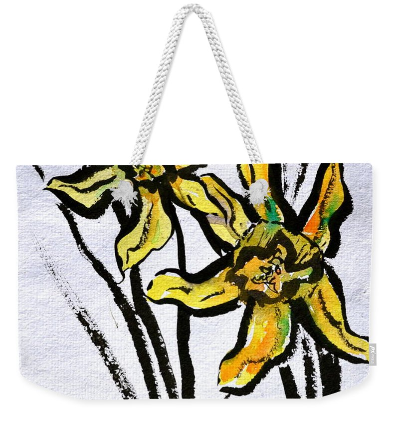 Daffodils Weekender Tote Bag featuring the painting Determination by Beverley Harper Tinsley