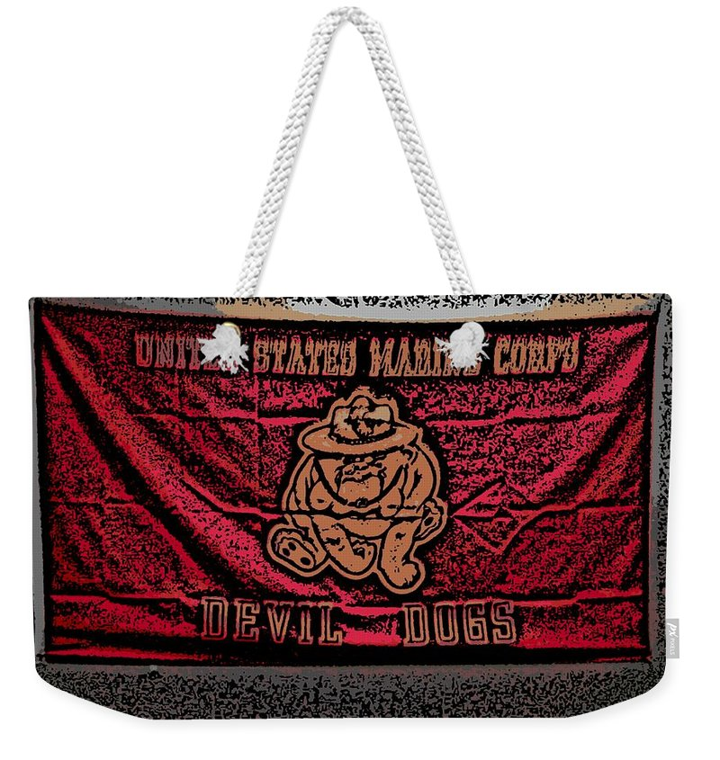 Flag Weekender Tote Bag featuring the photograph Devil Dogs by George Pedro