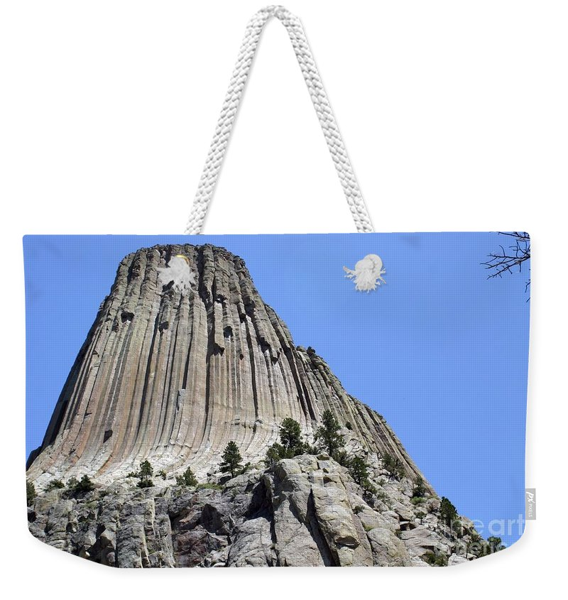 Devil's Tower Weekender Tote Bag featuring the photograph Devil's Tower Full View by Living Color Photography Lorraine Lynch