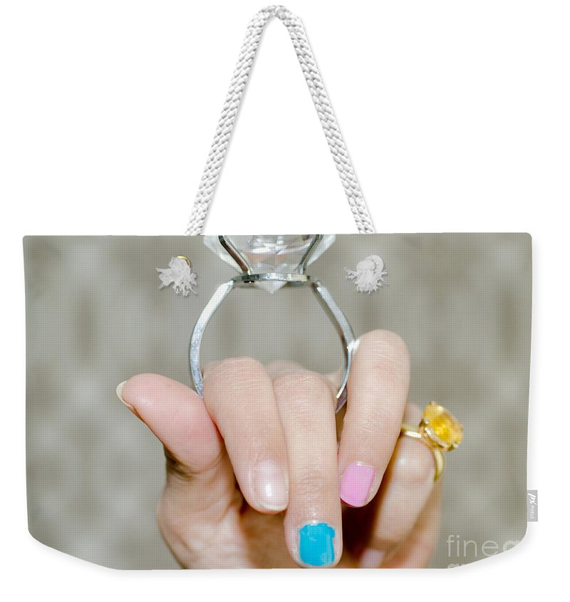 Woman Weekender Tote Bag featuring the photograph Diamond Ring by Mats Silvan