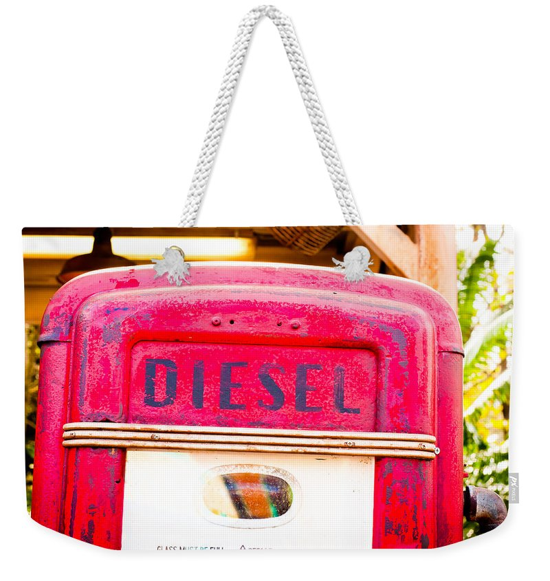 Abandoned Weekender Tote Bag featuring the photograph Diesel Pump by Tom Gowanlock