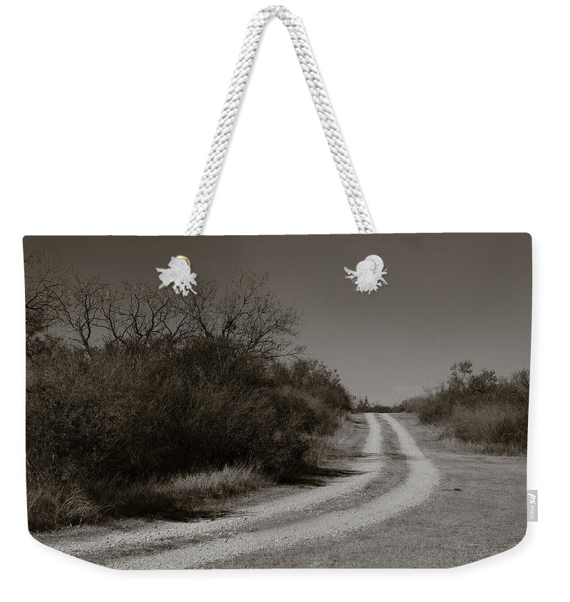 Black And White Weekender Tote Bag featuring the photograph Dirt Road by Sean Wray