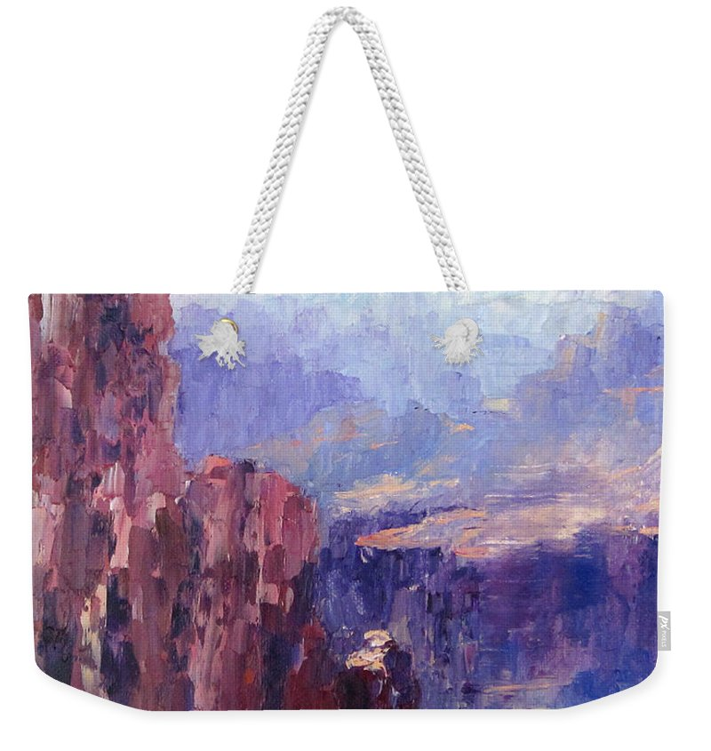 Grand Canyon Weekender Tote Bag featuring the painting Distance by Terry Chacon