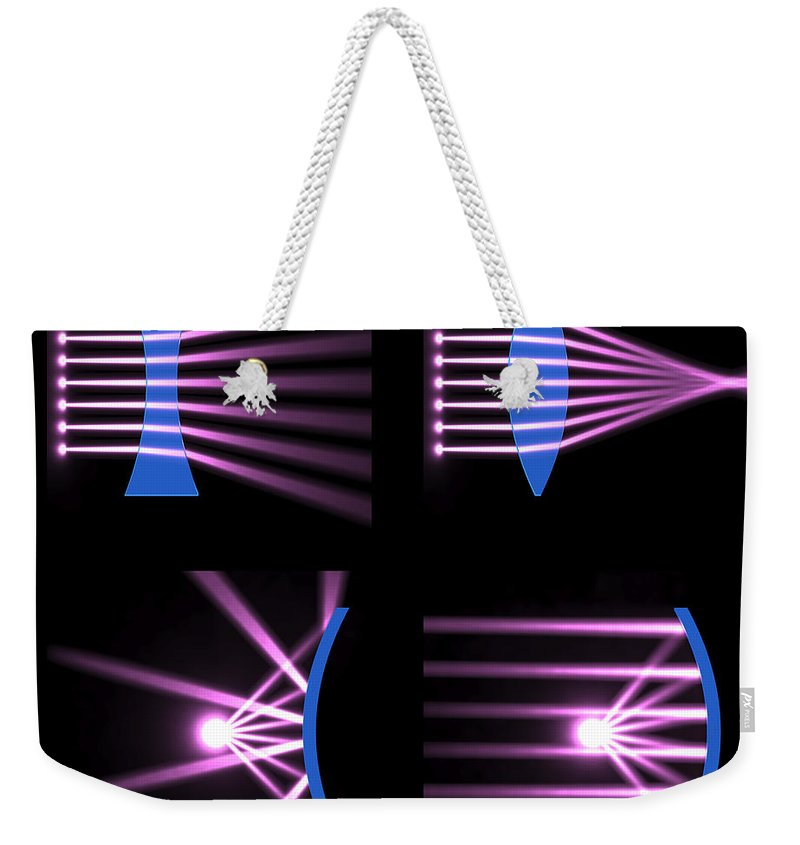Biconvex Weekender Tote Bag featuring the digital art Diverging Converging Lenses And Mirrors by Russell Kightley