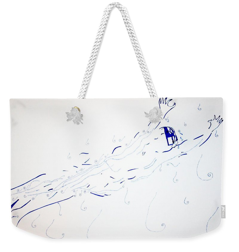 Jesus Weekender Tote Bag featuring the painting Diving by Gloria Ssali