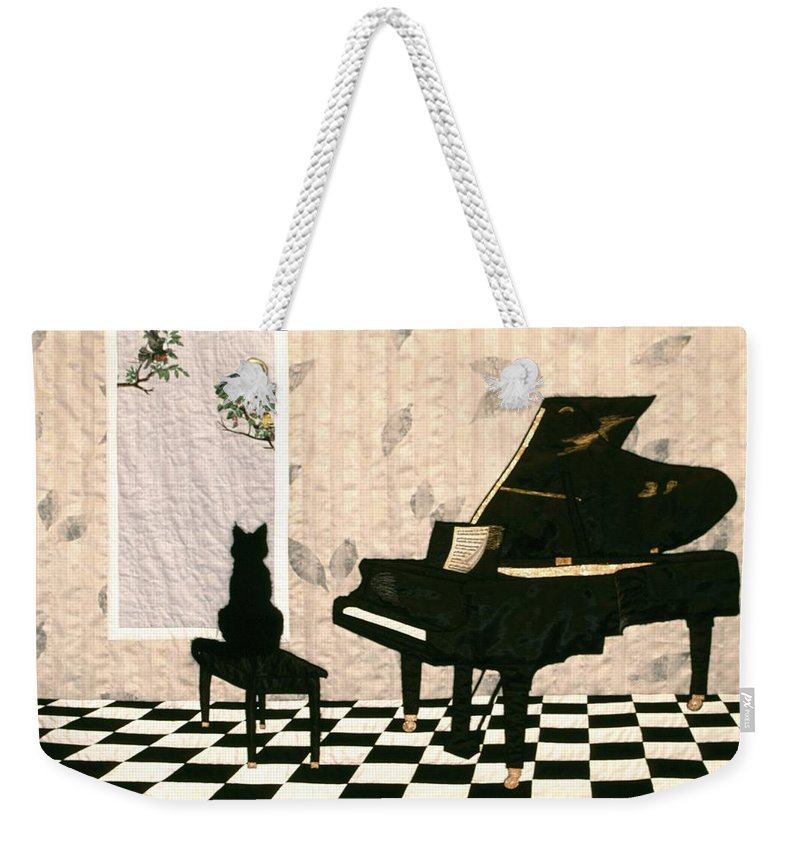 Cat Weekender Tote Bag featuring the tapestry - textile Do I Have To Practice Now? by Loretta Alvarado
