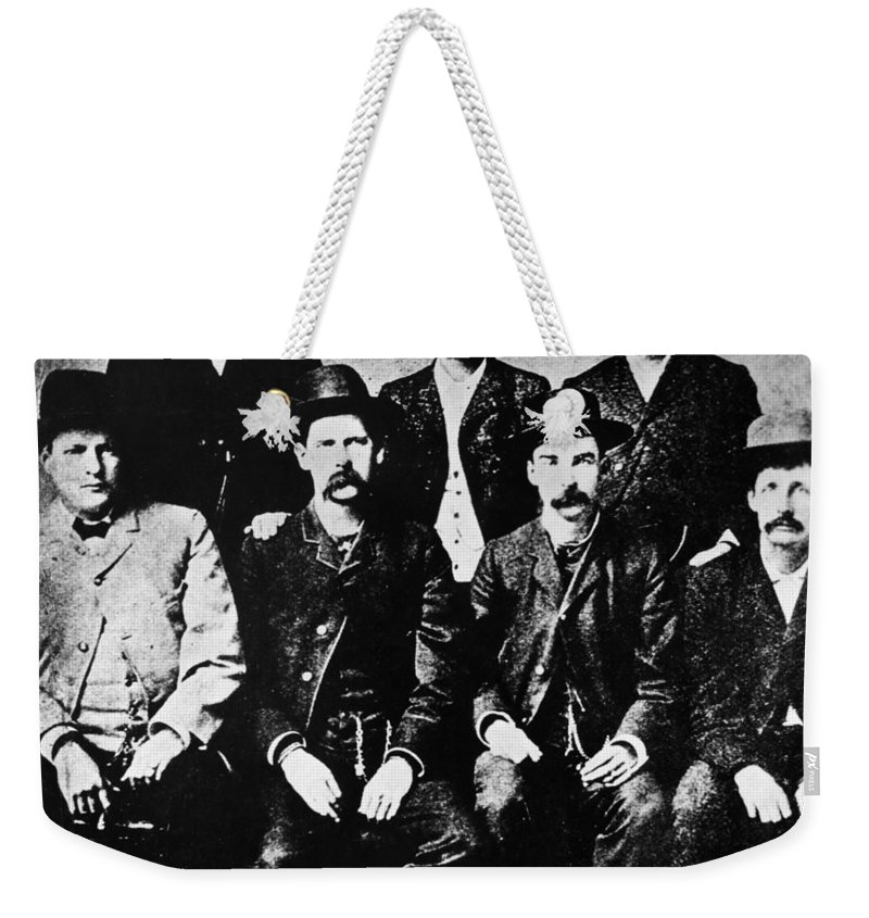 1890 Weekender Tote Bag featuring the photograph Dodge City Commission by Granger