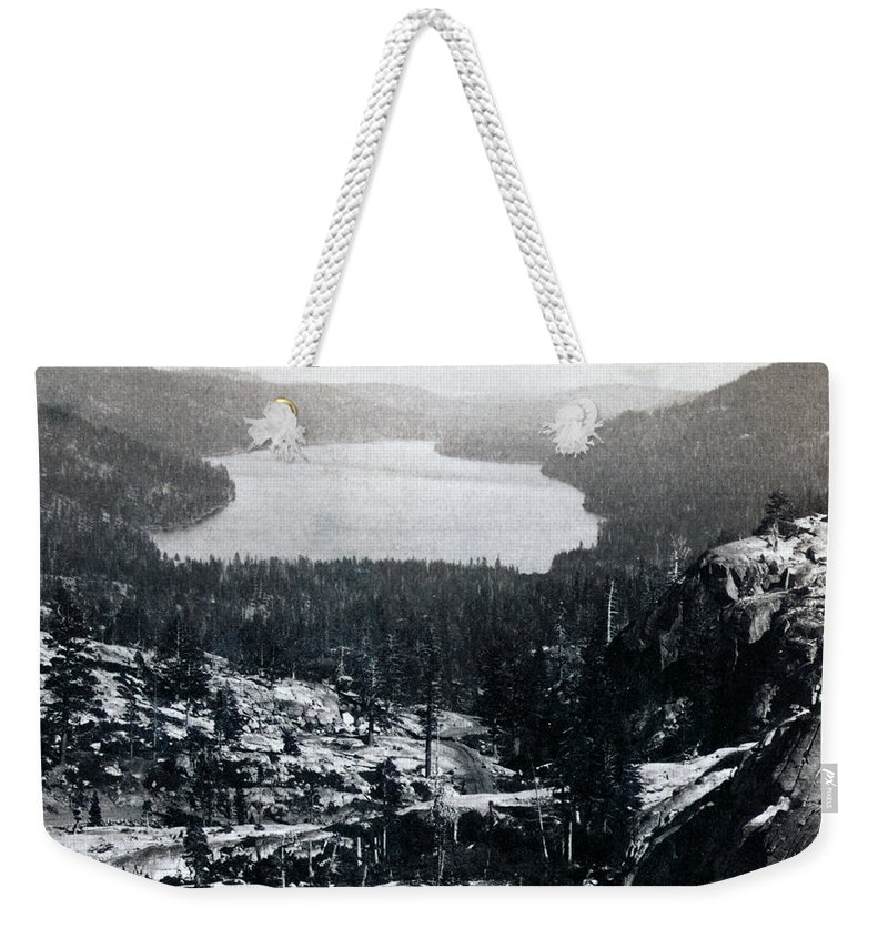 donner Lake Weekender Tote Bag featuring the photograph Donner Lake - California - C 1865 by International Images