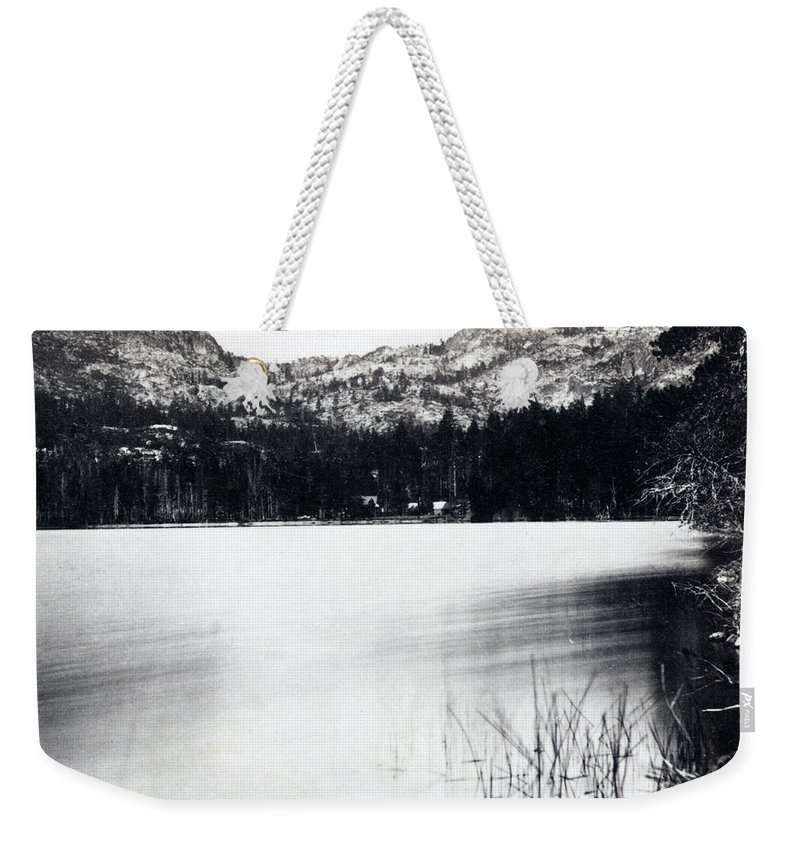 donner Lake Weekender Tote Bag featuring the photograph Donner Lake And Pass - California - C 1865 by International Images