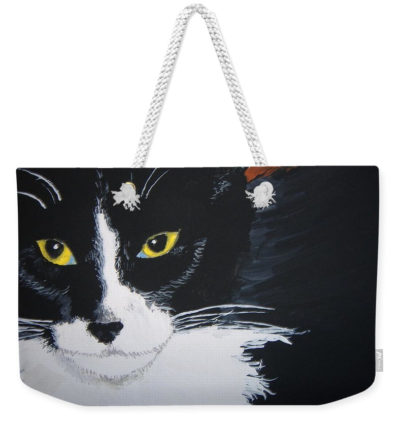Cat Weekender Tote Bag featuring the painting Don't Bug Me by Norm Starks