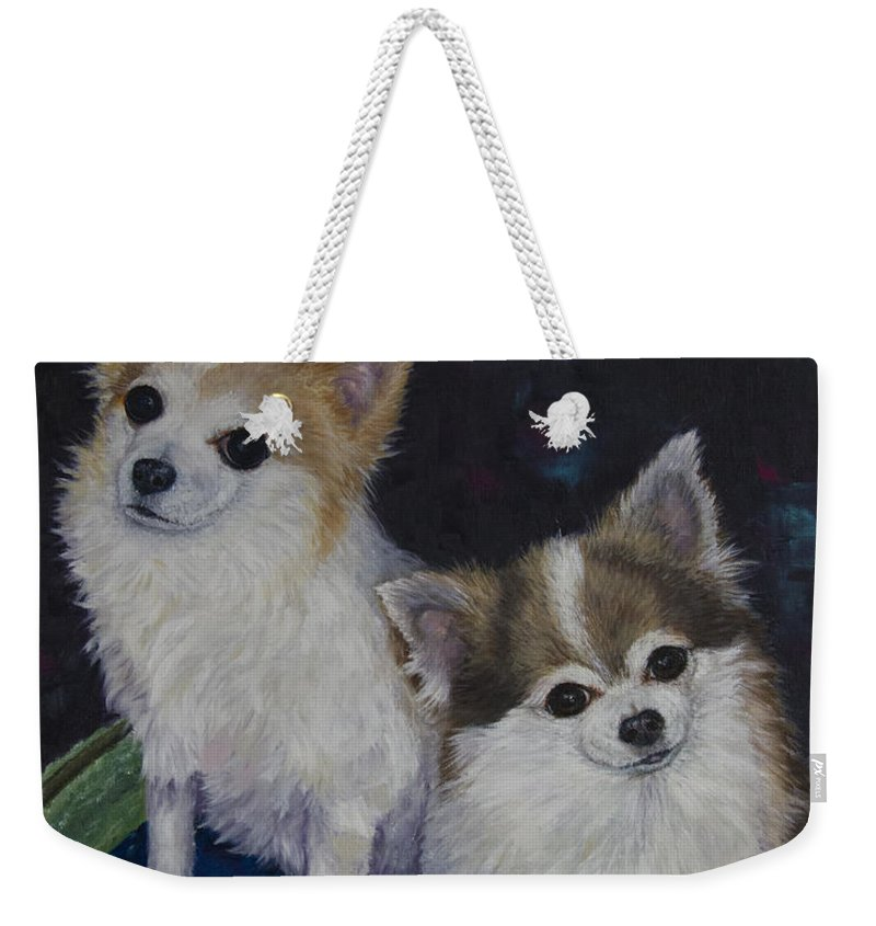 Chihuahua Weekender Tote Bag featuring the painting Dot And Dolly by Dee Carpenter