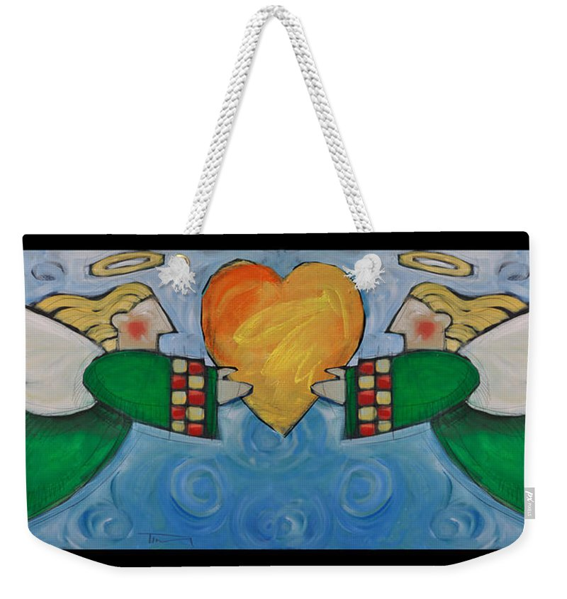 Angel Weekender Tote Bag featuring the painting Double Angels With Heart by Tim Nyberg