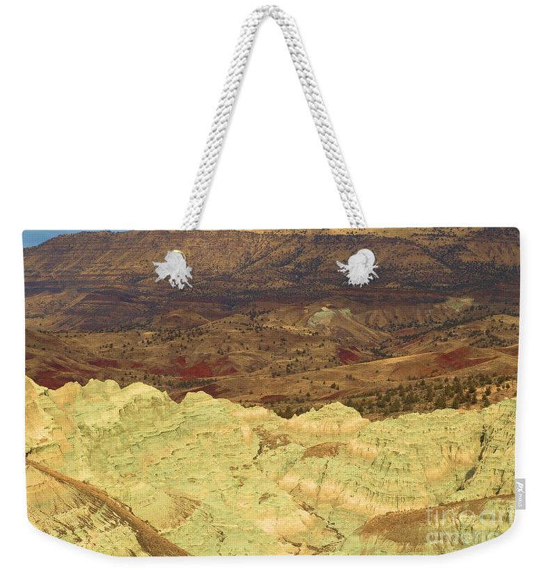 John Day Fossil Beds National Monument Weekender Tote Bag featuring the photograph Double Rainbows by Adam Jewell