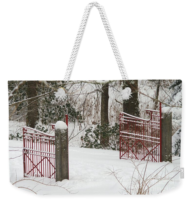 Fences Weekender Tote Bag featuring the photograph Double Red Iron Gates by Randy Harris