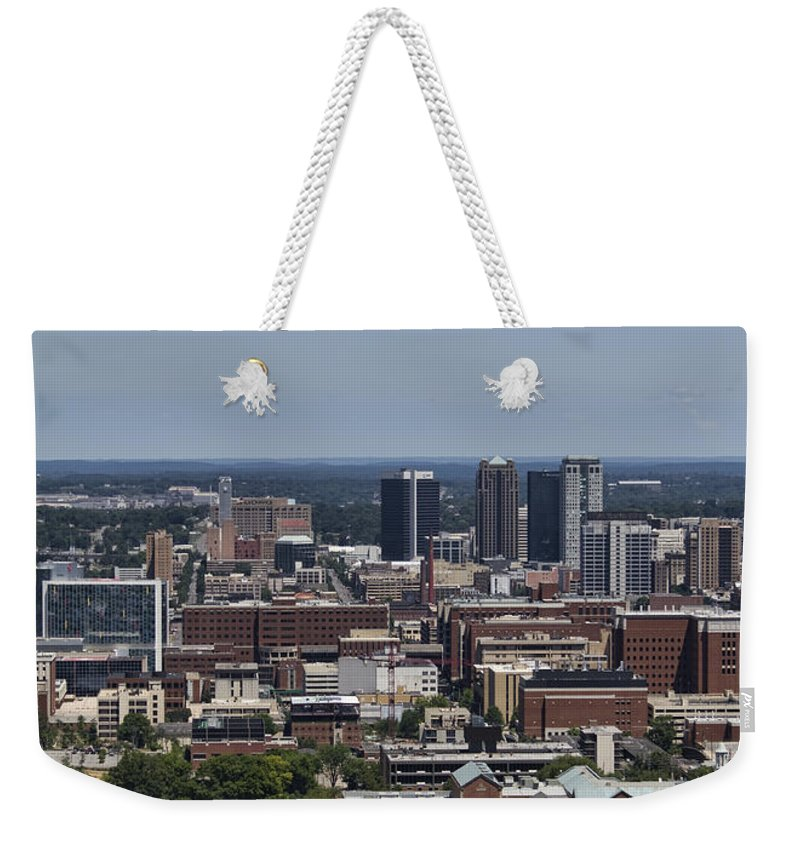 Downtown Weekender Tote Bag featuring the photograph Downtown Birmingham Alabama by Kathy Clark