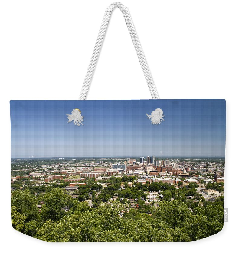 Birmingham Weekender Tote Bag featuring the photograph Downtown Birmingham Alabama On A Clear Day by Kathy Clark