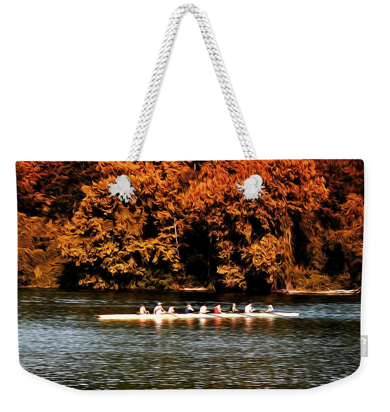 Dragon Boat On The Schuylkill Weekender Tote Bag featuring the photograph Dragon Boat On The Schuylkill by Bill Cannon