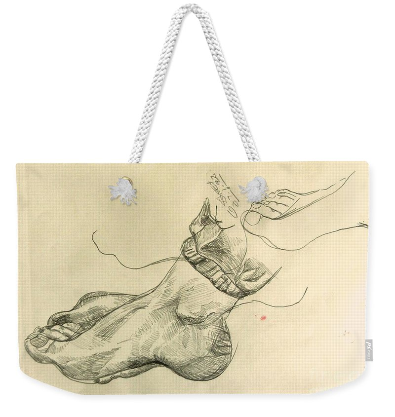 Feet Weekender Tote Bag featuring the drawing Drawing Class. Feet by Caroline Street