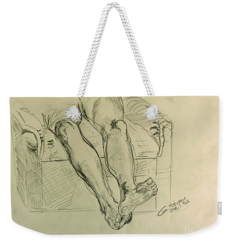 Anatomy Weekender Tote Bag featuring the drawing Drawing Class. Legs And Feet by Caroline Street
