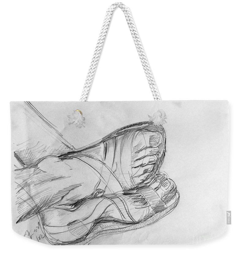 Feet Weekender Tote Bag featuring the drawing Drawing Class. Sandaled Feet by Caroline Street