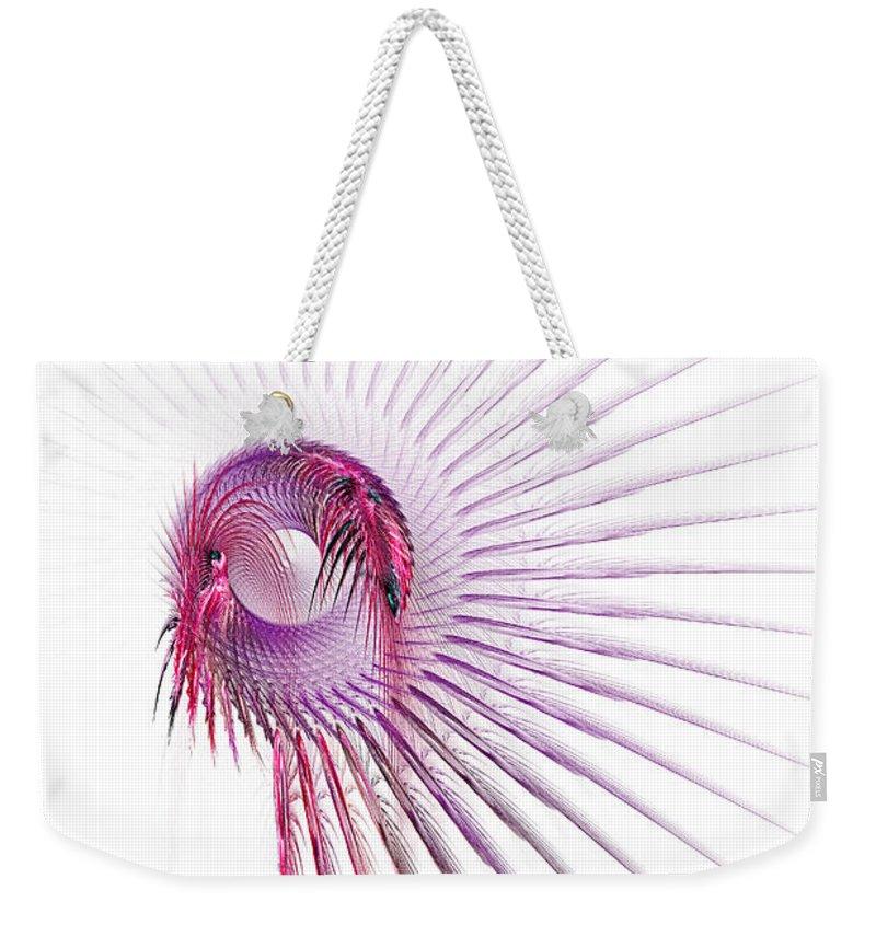Fractal Weekender Tote Bag featuring the digital art Dreamcatcher by Ann Garrett