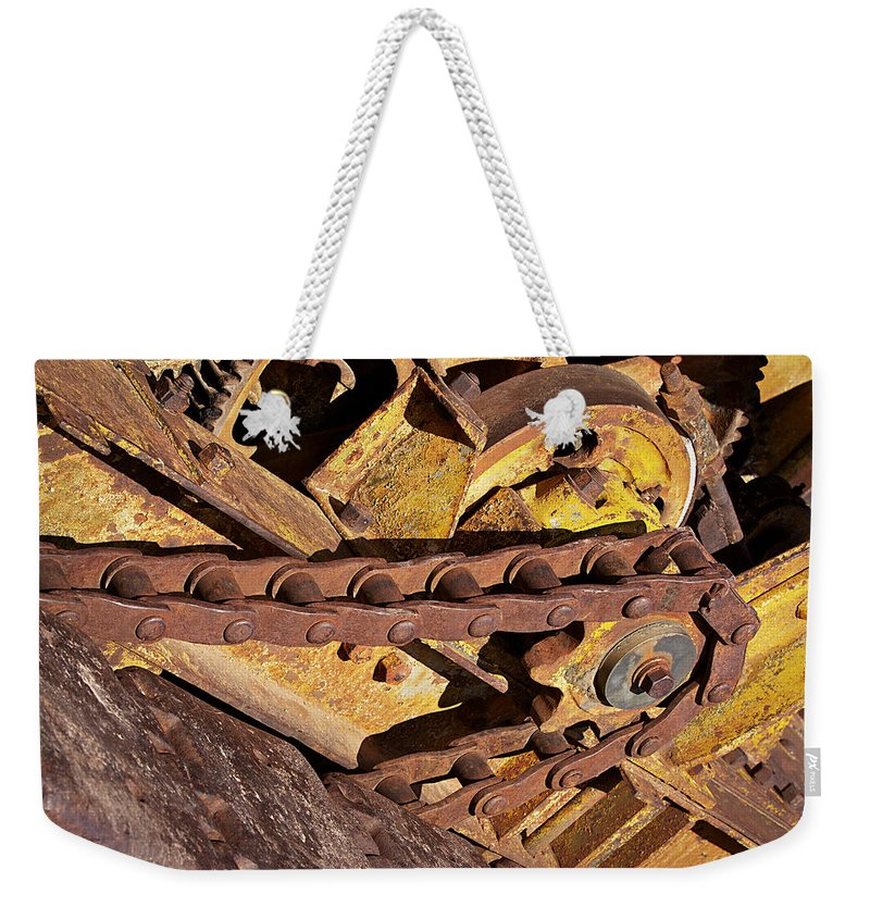 Drive Chain Weekender Tote Bag featuring the photograph Drive Chain by Phyllis Denton