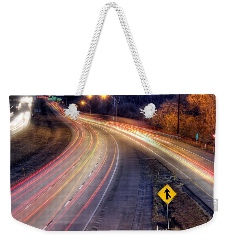Night Weekender Tote Bag featuring the photograph Drive by Lori Deiter
