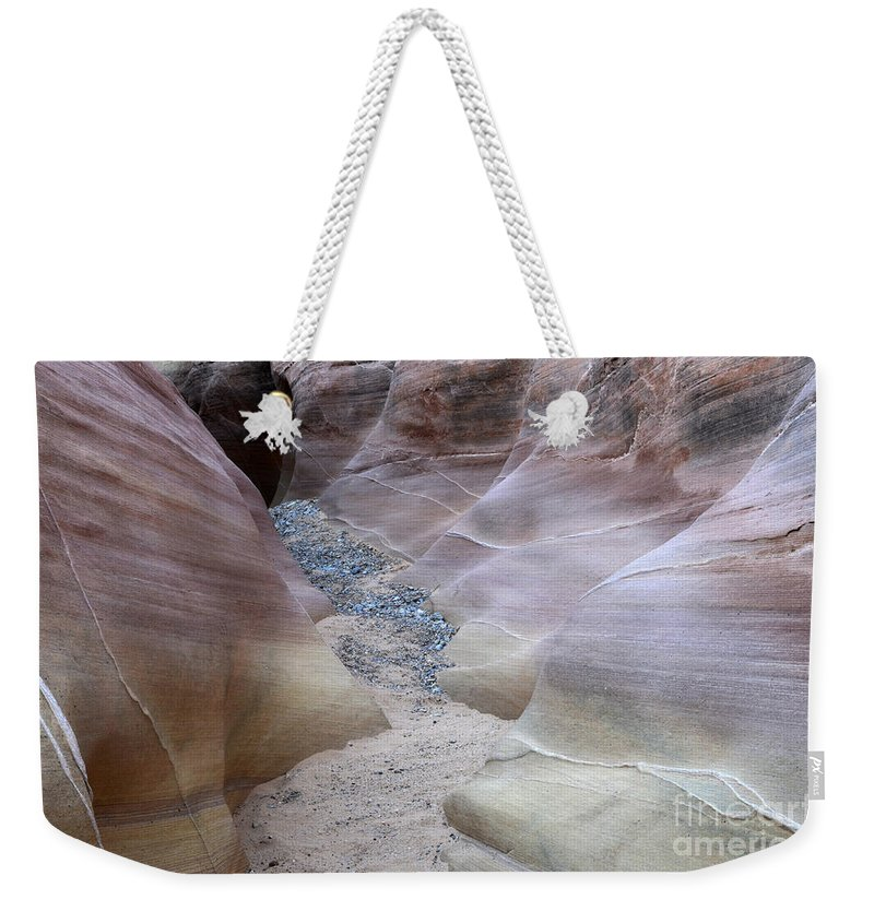 Valley Of Fire Weekender Tote Bag featuring the photograph Dry Creek Bed 3 by Bob Christopher