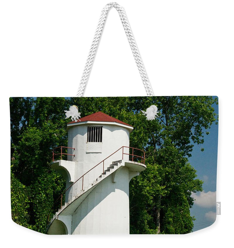 Dry Weekender Tote Bag featuring the photograph Dry Land Lighthouse 1 by Douglas Barnett