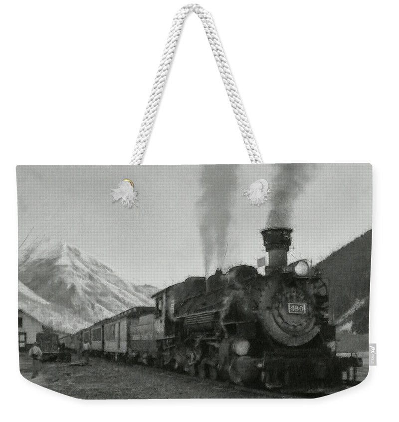 Durango Weekender Tote Bag featuring the digital art Durango Silverton Bw Painterly 2 by Ernie Echols