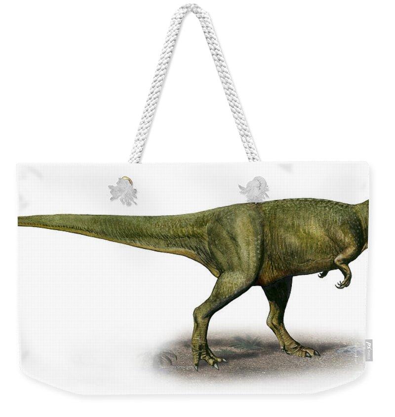 Horizontal Weekender Tote Bag featuring the digital art Duriavenator Hesperis, A Prehistoric by Sergey Krasovskiy