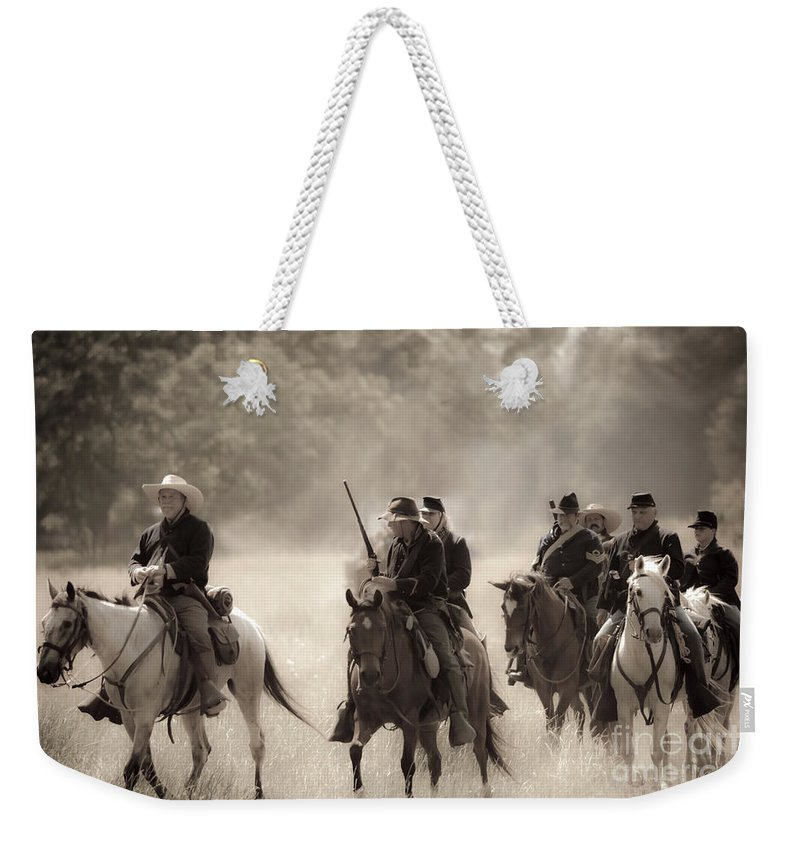 Reenactment Weekender Tote Bag featuring the mixed media Dusty Trail by Kim Henderson