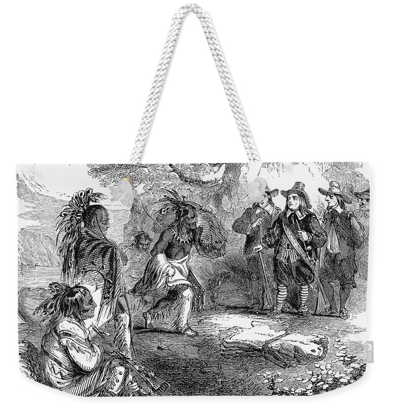 17th Century Weekender Tote Bag featuring the photograph Dutch-native American Fur Trade by Granger