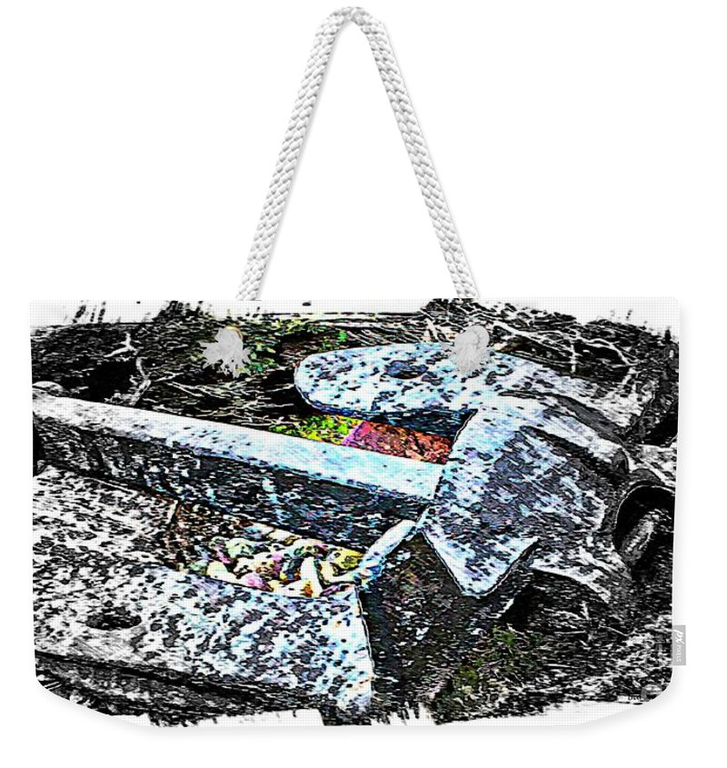 Duty Is Done Weekender Tote Bag featuring the digital art Duty Is Done - Warship Anchor by Barbara Griffin