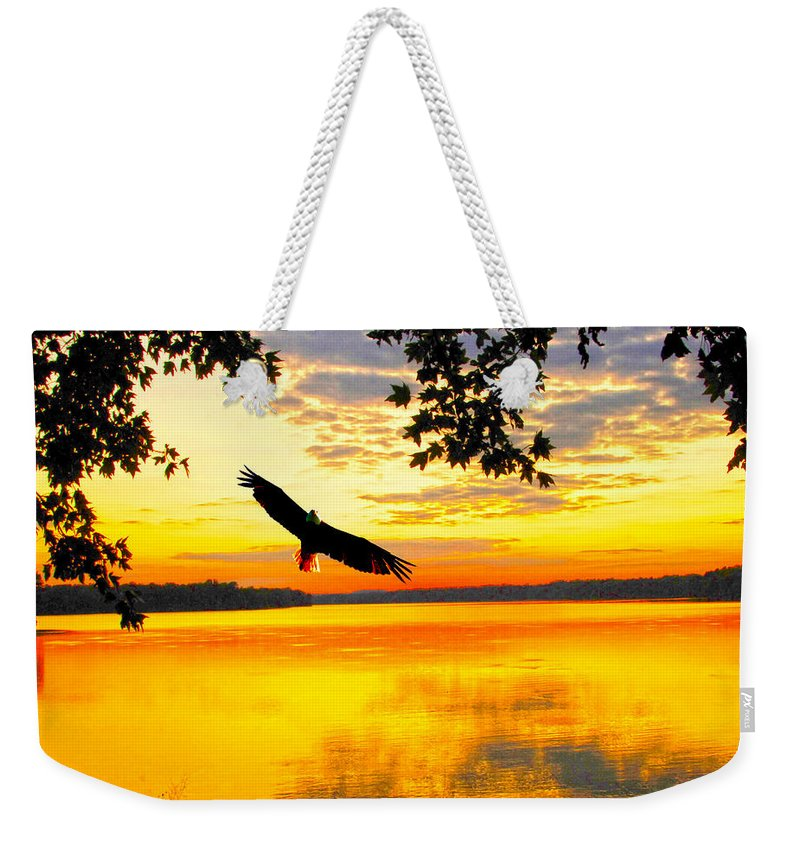 Eagle Up Close At Sundown Weekender Tote Bag featuring the photograph Eagle At Sunset by Randall Branham