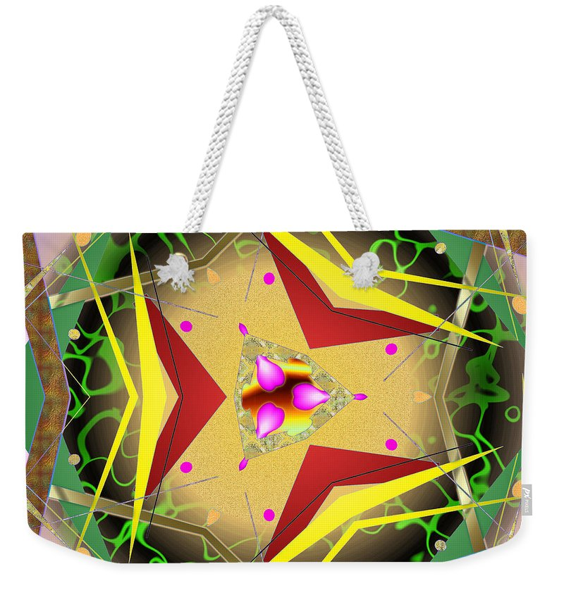 Abstract Weekender Tote Bag featuring the digital art Eaorling Flower by Mario Carini