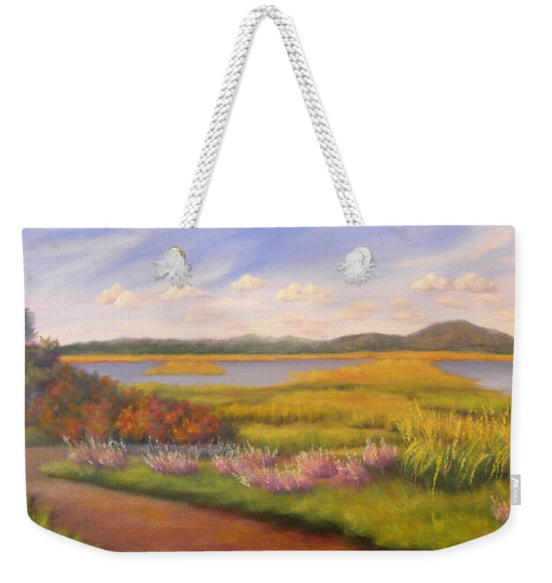 Marsh Weekender Tote Bag featuring the painting Early Fall Plum Island by Sharon E Allen