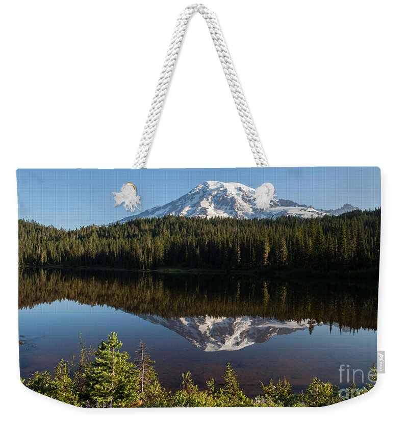 Rainier Weekender Tote Bag featuring the photograph Early Morning Majestic by Mike Reid