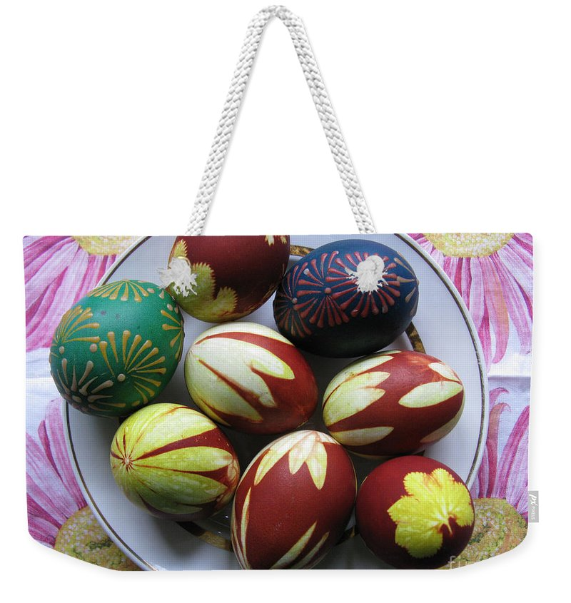 Easter Weekender Tote Bag featuring the photograph Easter Eggs. Plant Print And Wax Drawing. by Ausra Huntington nee Paulauskaite