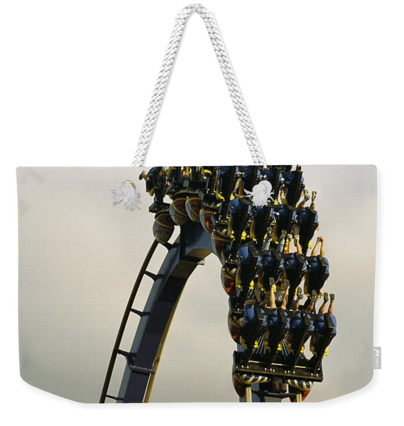 North America Weekender Tote Bag featuring the photograph Egypt-montu Rollercoaster At Busch by Richard Nowitz
