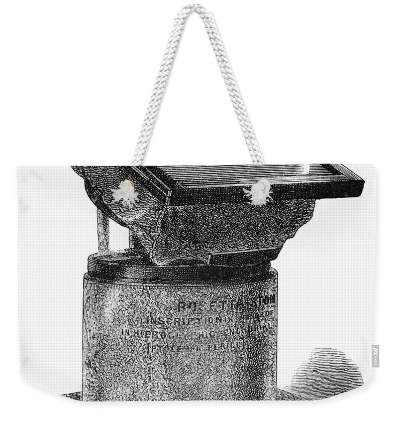1930s Weekender Tote Bag featuring the photograph Egypt: Rosetta Stone by Granger