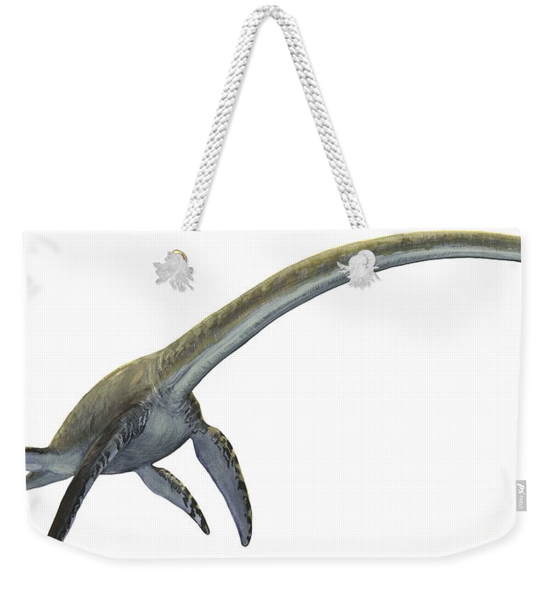 Horizontal Weekender Tote Bag featuring the digital art Elasmosaurus Platyurus, A Prehistoric by Sergey Krasovskiy